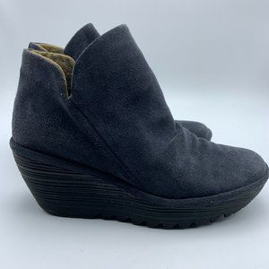 Fly London Blue Suede Yip Wedge Booties Size 39